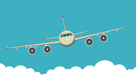 Background of Front view of Civil Aircraft airplane with sky and clouds.