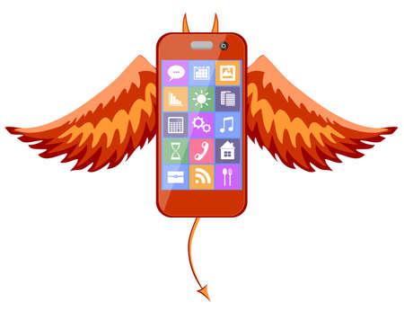 un'icona del diavolo del telefono. Vettore