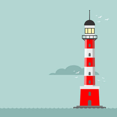 Vector cartoon flat lighthouse. Searchlight tower for maritime navigation guidance