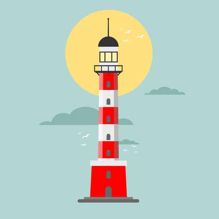 Vector cartoon flat lighthouse. Searchlight tower for maritime navigation guidance