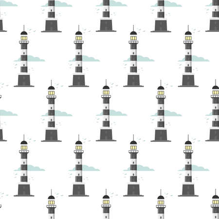 lighthouse seamless pattern on a white background