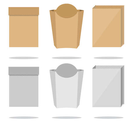Brown and white paper bags on white background. Ilustración de vector