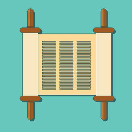 Torah scroll in flat style.