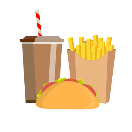Lunch with french fries, sandwich and soda takeaway on isolated background. Fast food. Flat design.