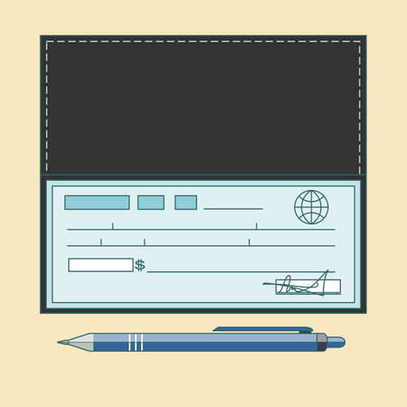 Cheque vector illustration. Cheque icon in flat style. Cheque book on colored background. Bank check with pen.