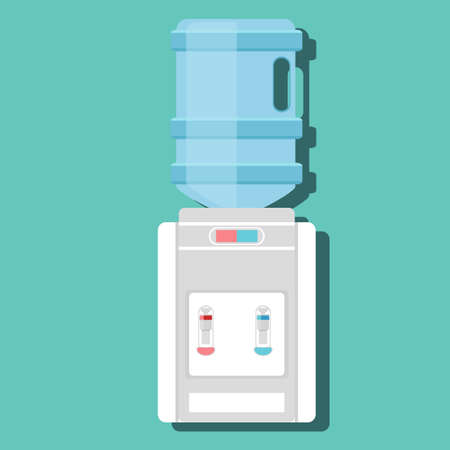 Flat vector icon for water cooler. Gray water cooler with blue full bottle