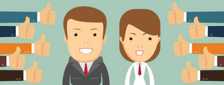 Smiling happy young woman and man surrounded by hands with thumbs up. Concept of public approval, acknowledgment, recognition, acceptance and appreciation. Colorful vector illustration in flat style Ilustrace