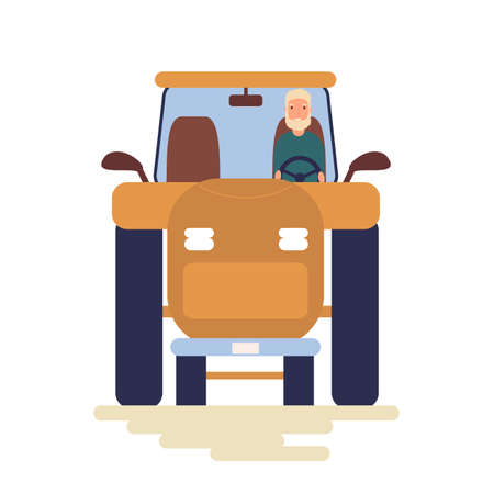 Funny people driving cars isolated on white background. Cute men in tractor. Front view. Colorful vector illustration in flat cartoon style.