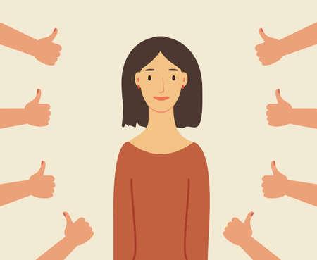 Lächelnde glückliche junge Frau, umgeben von Händen mit Daumen nach oben. Konzept der öffentlichen Zustimmung, Anerkennung, Anerkennung, Akzeptanz und Wertschätzung. Bunte Vektorillustration im flachen Cartoon-Stil Vektorgrafik