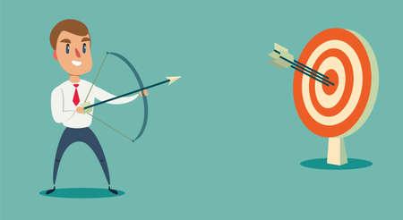 Erfolgreicher Geschäftsmann schießt oder zielt auf das Ziel. Geschäftskonzeptillustration concept