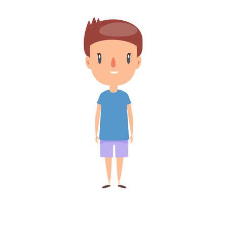 Smiling little child. Cheerful elementary school student, kindergarten pupil cartoon character. Kid flat vector illustration.