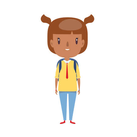 Smiling little child. Cheerful elementary school student, kindergarten pupil cartoon character.
