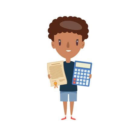Smiling schoolboy. Cheerful elementary school student, kindergarten pupil cartoon character. Flat vector illustration. Stock Illustratie