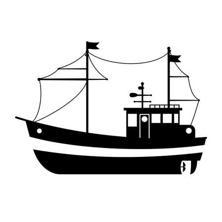 Silhouette of the sea towboat ship. Vector flat design illustration.