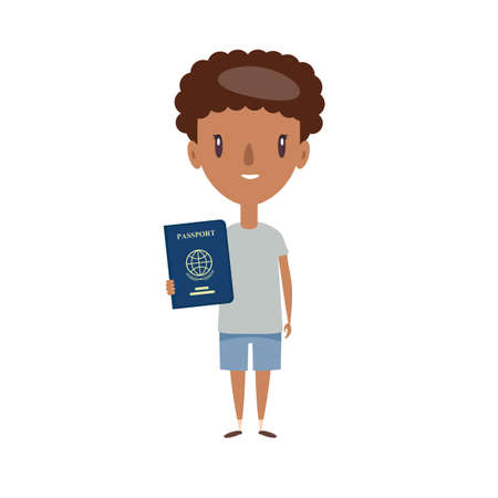 Image of young cheerful african man standing isolated over white background. Looking at camera holding passport