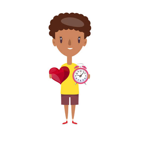 give time with love, showing retro clock and red heart on hand. Vector flat design illustration.