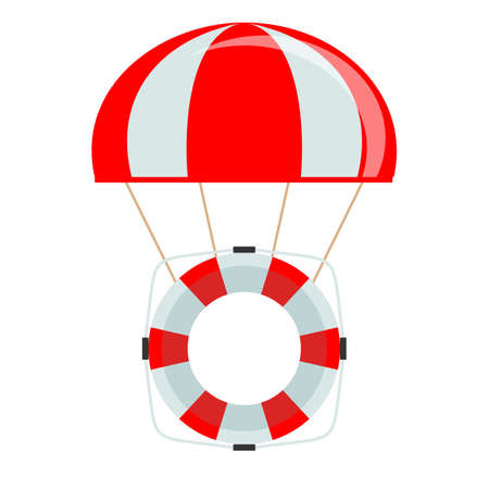 Life buoy with parachute isolated on white background. Vectores