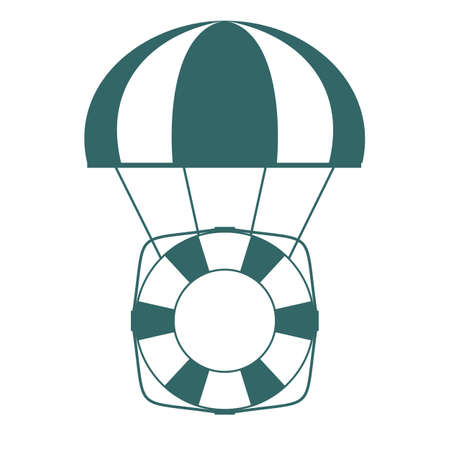 Life buoy with parachute isolated on white background. Vector flat design illustration.