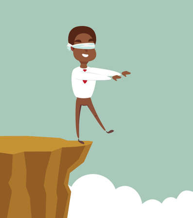 blindfolded black african american businessman walk to the cliff. Business concept. Stock flat vector illustration. Ilustrace