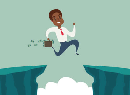 black african american businessman jump over cliff gap, overcome the difficulty. Business concept