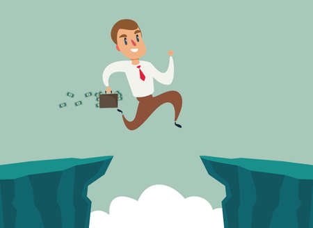 Businessman jump over cliff gap, overcome the difficulty. Business concept Ilustracja