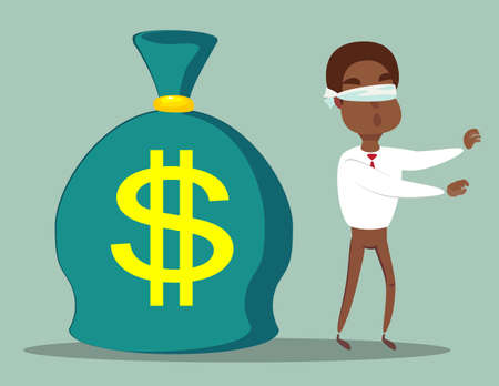 Cartoon blind black african american businessmen can not find money lying on the ground. Vector flat design illustration.