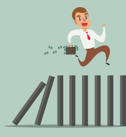 Business concept of a businessman running on top of domino effect  イラスト・ベクター素材