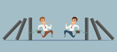 Business concept of a businessmanes run away from domino effect