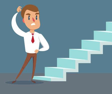 Concept de carrière dans un style plat - homme de dessin animé devant l'escalier vers le succès et le progrès