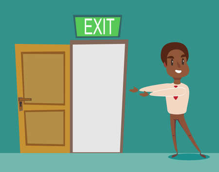 Man pointing with the the way out. Vector flat design illustration.
