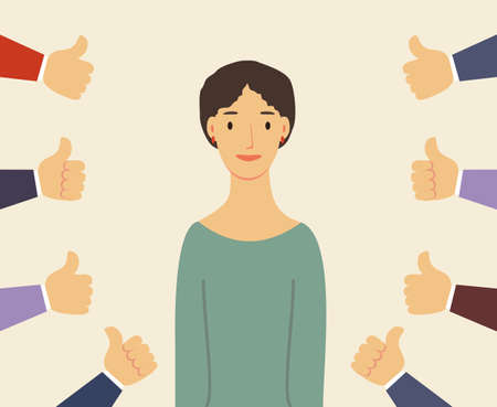 Smiling happy young woman surrounded by hands with thumbs up. Concept of public approval, acknowledgment, acceptance and appreciation.