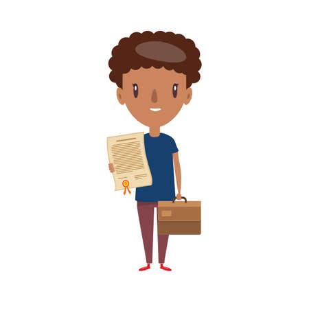 Smiling teenager. Cheerful elementary school student, kindergarten pupil cartoon character. Stock Illustratie