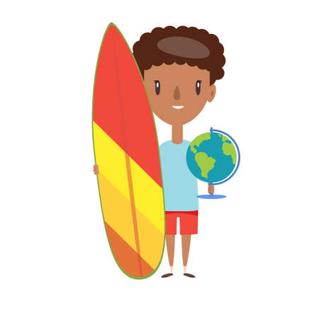 Young man in shorts and t-shirt standing, holding surfboard and earth on white background.