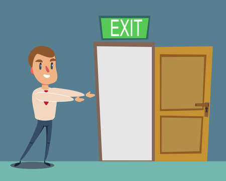 man pointing with the the way out