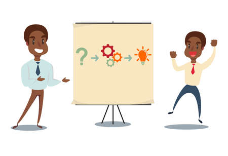 black african american Professor teaching business theories. Vector flat design illustration.