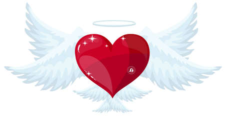 Vector red heart with wings. Foto de archivo - 138473473