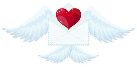 Illustration envelope with wings like Cupid Sending love and heart.Valentines Day. letter icon symbol simple abstract on red background. Foto de archivo - 138473474