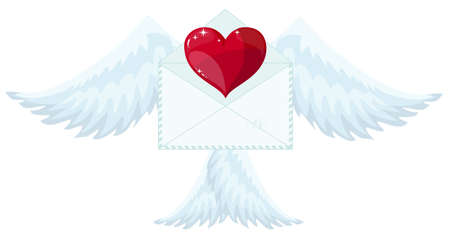 Illustration envelope with wings like Cupid Sending love and heart.Valentines Day. letter icon symbol simple abstract on red background. Ilustracja