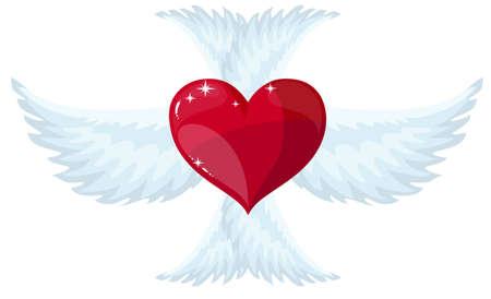 Vector red heart with wings. Zdjęcie Seryjne - 138473481