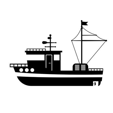 Silhouette of the sea towboat ship