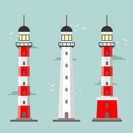 Set of cartoon lighthouses. Searchlight towers for maritime navigational guidance 스톡 콘텐츠 - 138473504