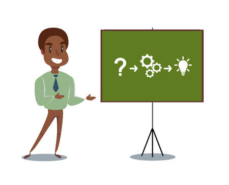 black african american Professor teaching business theories. Vector flat design illustration.