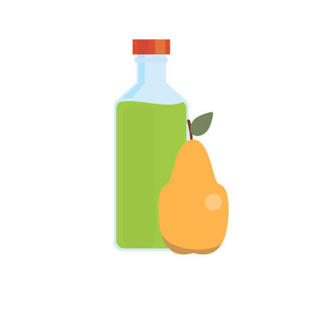 Bottle of pear juice and ripe pear. Isolated on white background. Vector flat design illustration.