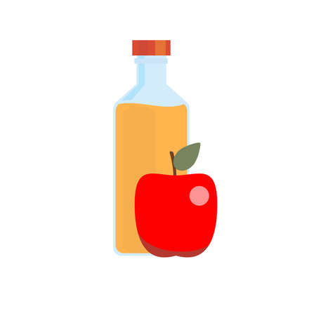 bottle of apple juice with apple. Vector flat design illustration.  イラスト・ベクター素材