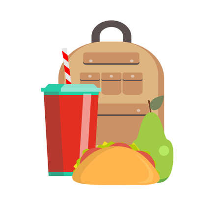 School lunch box. Children's lunch bag with sandwich, soda, fruit and other food. Kids school lunches icons in flat style. Vector flat design illustration.