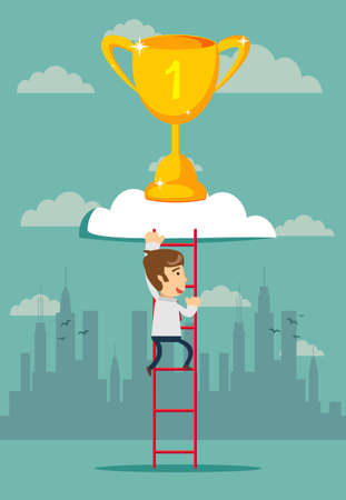 climb to trophy over clouds. Stock flat vector illustration.
