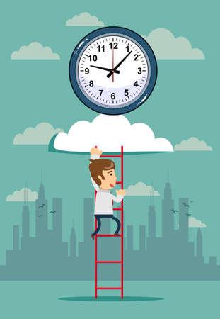 clock on cloud with wooden ladder and man Ilustração Vetorial