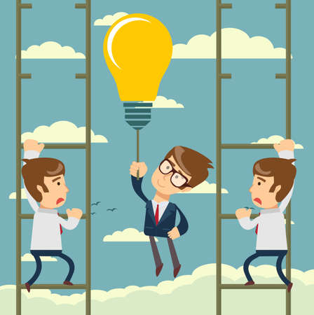 Happy businessman holding idea bulbs as balloon flying pass another businessman climbing a ladder. Business competition concept. Vector flat design illustration.