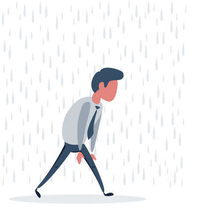 Frustrated businessman or clerk man walking with rain over his head.