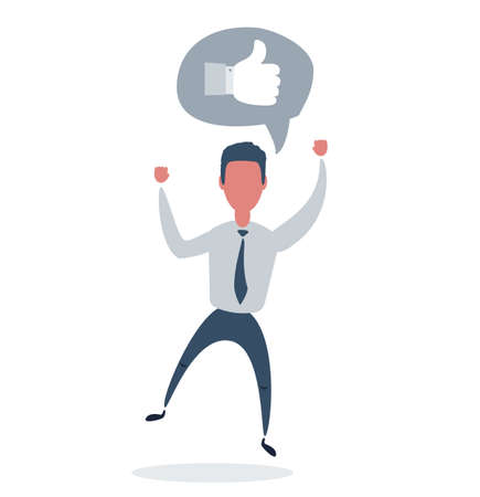 Happy and proud businessman with thumb up hand. Business compliment concept. Vector illustration